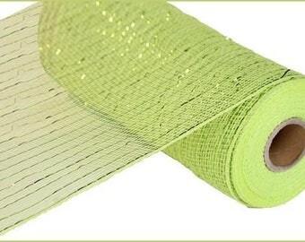 "10""x10yd metallic apple green mesh / deco mesh/ green poly deco mesh/"