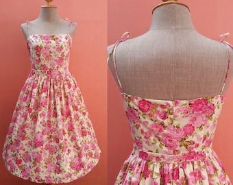 Bridesmaid Dress Short Prom Dress 50s Dress Pin Up Dress Tea Length Dress Sundress Day Dress Pink Floral Print Cotton Dress Size S Small