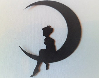 Silhouette Die Cut Fairy on Moon in Black x 6