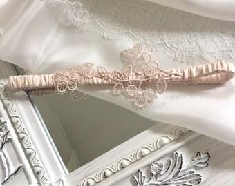 Blossom; blush pink bridal garter / wedding garter with blush pink lace guipure detail. 100% silk satin