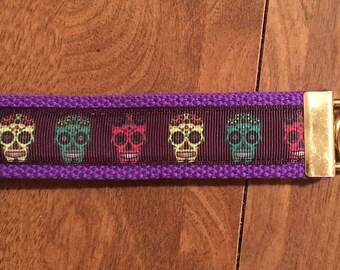 Sugar Skull Key Chain Zipper Pull Wristlet