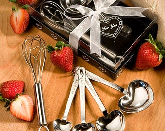 Heart Shaped Measuring Spoon and Whisk Sets - Bridal Shower Party Favor 8-72 Qty  4207