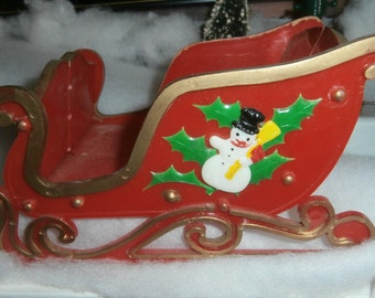 Vintage Christmas decoration Santa's sleigh with snowman trim hard plastic for greeting cards or display ornaments