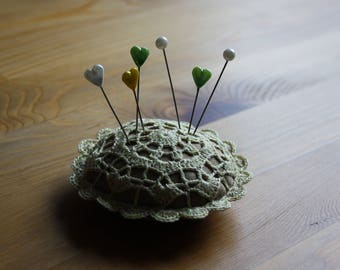 Round Crochet Doily Pincushion