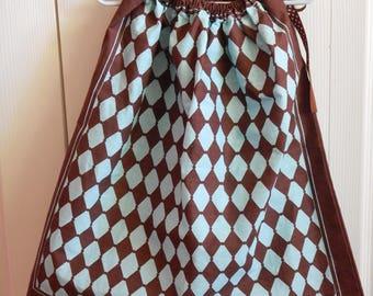 Bandana Dress - Girl's Western Dress - 3T - Summer Dress - Children's Clothing - Young Lady's Blouse - Bandanna Western Wear - Blue Diamonds