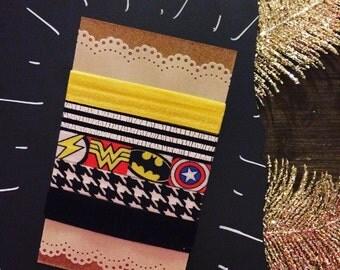 Super Hero Hair Tie Pack - 5 Ties - Handmade - 30% of sales donated!