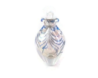Art Glass Perfume Bottle    Hand Blown Murano with a Blue Swirls and Gold Speckles   Teen