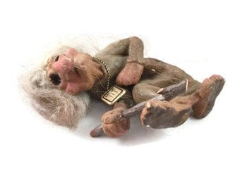 Nyform Troll Discontinued Old Woman Art No. 113 |  Original Norwegian Ny Form Troll made in Tynset Norway |  Vintage Home Decor