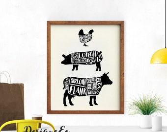 Print - Kitchen Butcher Chart