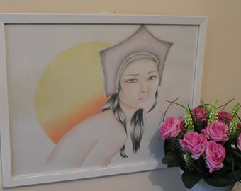 Original artwork, framed, colour drawing. 'Sunset of the Orient'
