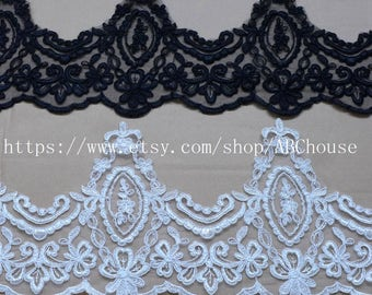 7yards high quality Black/off white Bilateral cord embroidery lace trim for fabric Millinery accent motif 20CM width