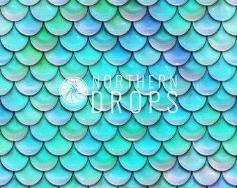 Photography Backdrop - FISH SCALES - Aqua - Blue-Green - Mermaid Fish Scale printed backdrop - Aqua photo backdrop - Fish scale background
