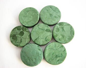 7 green buttons, medium large casein shank buttons, 23 mm across, unused 1950s supplies!!