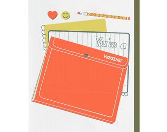 Love Card, Funny Letterpress Card, Trapper Keeper, 70s 80s, Punny Pun, Anniversary, Husband Wife, Retro, Red, Orange Green, Smiley Face