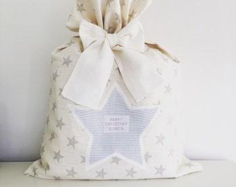 100% linen Personalised Star Christmas Sack