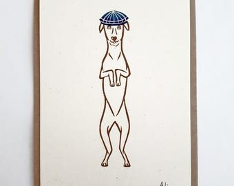 Original Print: Quirky Art Print of a Whippet in Flat Cap. Linocut Print, A5 in Size, Unmounted.