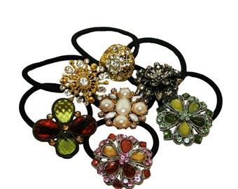 Set Of Seven Elastic Ponytail Holder, Rhinestone  Ponytail Holder, Assorted color and Design Hair Tie,
