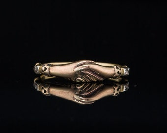 Reserved!  Georgian rare diamond clasped hands fede ring