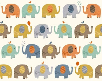 COTTON FABRIC Baby Jungle Elephants - Makower UK 100% premium cotton