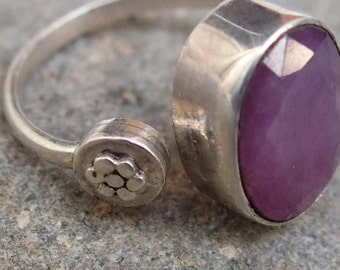 "Sterling Silver and Ruby Ring with ""Flower"""