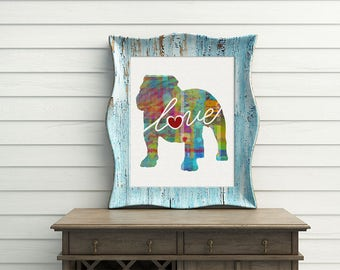 English Bulldog Love - A Colorful, Bright & Whimsical Watercolor Home Decor Gift, Can Be Personalized with Name (+ More Breed Options)