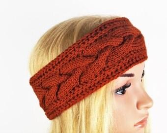 80%Wool,Brown Turban, Ear Warmer,Headband, Knitted Ear Warmer, Knitted Head Band, Turban Style Headband,Handmade Ear Warmer,Wool Ear Warmer