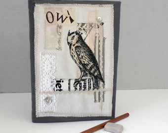 Owl design-fabric covered book-notebook-journal-A5
