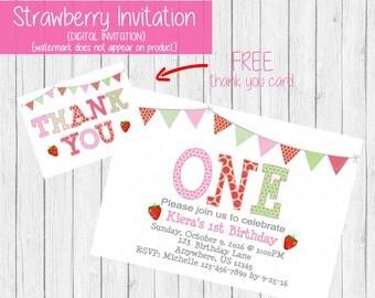 Strawberry Birthday Invitation - Strawberry 1st Birthday Invitation - Strawberry Party Invitation - Strawberry Shortcake Invitation