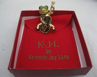 Kenneth Jay Lane KJL Green/Gold/Black Jazzy Frog Brooch