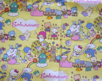Japanese Fabric Sanrio Characters- Hello Kitty Kiki Lala Twin Little Stars, Yellow - half meter 50 cm