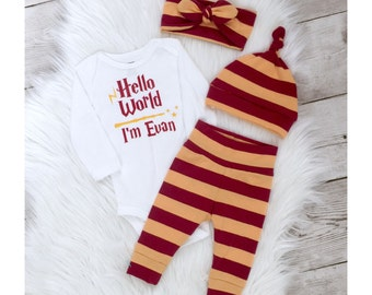 harry potter baby, Newborn going home outfit, Coming home outfit, Gryffindor, personalized baby outfit, gender neutral baby set, hello world