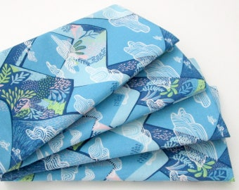 Large Cloth Napkins - Set of 4 - Mountains Clouds Blue Pink Green - Everyday, Dinner, Table, Wedding