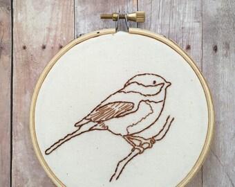 Chickadee embroidery