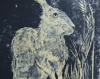 Original Linocut Hare Print, A5 midnight blue and gold ink