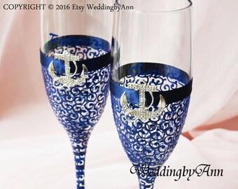 Nautical Wedding Champagne Glasses, Marine Wedding glasses, Anchor Wedding toasting flutes, Military Wedding, Bridal shower gift