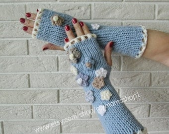 Long Knit Fingerless Gloves with floral. Valentines Day gift Gray-Blue Hand Knit Gloves. Knitted Wrist Warmers. Long Women Gloves.