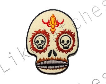 Skull Creme Color - Ghost - Halloween Patch - New Sew / Iron On Patch Embroidered Applique Size 7.1cm.x8.9cm.