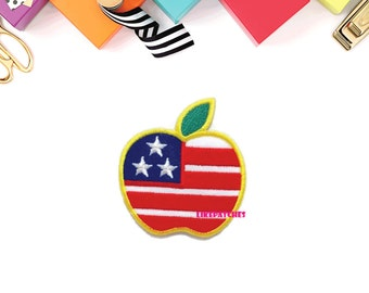 Apple American Flag Fruit Patch New Sew / Iron On Patch Embroidered Applique Size 5.9cm.x6.5cm.
