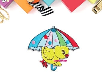 Yellow Chicken Colorful Umbrella New Sew / Iron On Patch Embroidered Applique Size 7.8cm.x6.8cm.