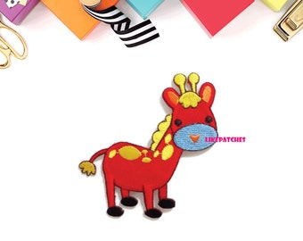 Red Giraffe Super Cute Animal New Sew /Iron On Patch Embroidered Applique Size 7.5cm.x8.1cm.