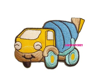 Concrete Mixer Truck Patch - Yellow Truck - Happy Concrete Truck New Sew / Iron On Patch Embroidered Applique Size 8.5cm.x6.2cm.
