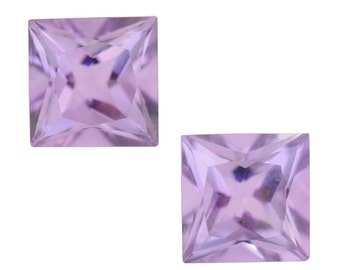 Pink Amethyst Square Cut Set of 2 Loose Gemstone 1A Quality 6mm TGW 1.70 cts.