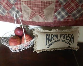 "FARM FRESH Burlap TABLETOP Pillow 7""x 14"" Farmhouse Decor"