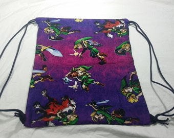 Drawstring Bag Made With The Legend of Zelda Fabric (Reversible) Purple, Zelda Fabric, Awesome Bag, Nerdy Gift, Zelda Bag, Gift for Nerds