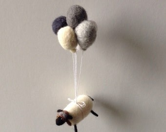 Felted sheep mobile balloon mobile
