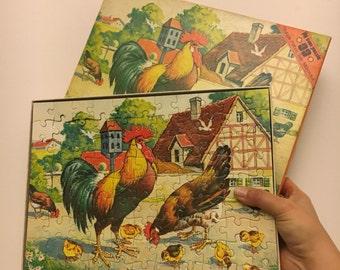 Vintage puzzle farm, Rooster