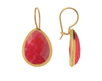 Classic Ruby Quartz Teardrop Earrings