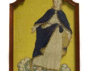 Antique European silk embroidery Our Lady treading upon the Serpent in wood frame circa 1860