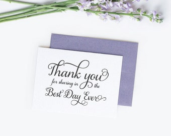 Wedding thank you cards (10) - Wedding thank you notes - Wedding cards - Best day ever cards - C001-14