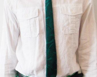 vintage 60s/70s Sergio Valnete green skinny necktie